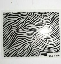 Nail Art Stickers Full Cover Pattern Black and White Zebra Animal White Decal