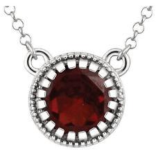 "Garnet ""January"" 18"" Birthstone Necklace In 14K White Gold"