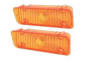 71-72 Chevy C10 Truck Front LH & RH Bumper Turn Signal Lights Parking Lamps Set