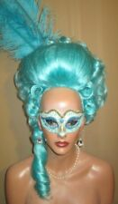 Drag Wig Costumes Big Casanova LIght Turquoise BluePompador & Tail and Curls