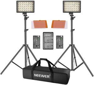 Neewer 2 Packs CN-160 LED-Videoleuchte Standlicht Kit Dimmbare LED-Videoleuchte