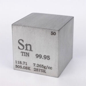 Tin Metal Density Cube 25.4mm 99.95% 119g for Element Collection