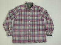 Women's L.L. BEAN Small Fleece Lined Flannel Shirt Pink Blue