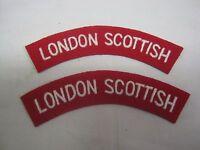 LONDON SCOTTISH Shoulder Titles - WW2 Repro Patch Sleeve