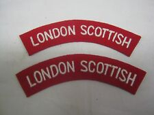 LONDON SCOTTISH Shoulder Titles - WW2 Repro Patch Sleeve