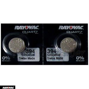 2 X Rayovac 394 Batterie Ossido D'Argento 1.55V 380 SR936SW SR45 V394 Orologi