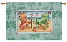 Welcome to Paradise ~ Adirondack Chairs/Palm Tree Seaside Tapestry Wall Hanging
