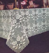 Vintage Crochet Pattern to make Rose Filet Flower Floral Tablecloth Motif RoseFi