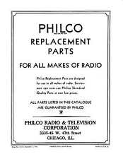 PHILCO RADIO & TV CORP - VINTAGE 1932 & 1933 ALL MAKES of RADIO PARTS CATALOG