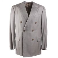 NWT $3095 ERMENEGILDO ZEGNA Light Gray Striped 'Trofeo Silk' Suit 42R (Eu 52)