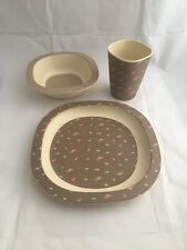Kids 3PC Dinner Set Bamboo Fibre Breakfast Set Plate Bowl Cup Brown Pink Blue
