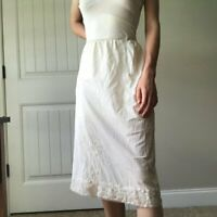 Vintage Komar Ivory Lace Trim Midi Half Slip Skirt Womens Size M 1930s 30s