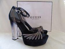 GUESS Peakabo Platform Open Toe Blue Velvet Suede & Pewter Shoes US 8.5 NWB