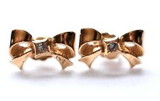 Avon Rhinestone Bow Ribbon Stud Earrings Signed Dainty Minimalist Jewelry