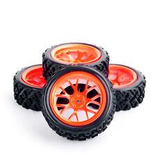 4PCS 1/10 RC Rally Racing Off Road Car Rubber Tyres Foam Insert & Wheels rim set