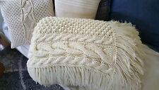 Vintage Handmade Oversized Cable Knit Throw/Bed Blanket- AMAZING!