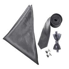 "Boy's 3"" Tie, Cufflinks, Bow Tie & Pocket Handkerchief Set - Wedding / Prom"