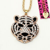 Betsey Johnson Jewelry Crystal Tiger Head Pendant Sweater Chain Women's Necklace