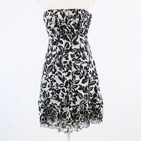 White black floral silk WHITE HOUSE BLACK MARKET strapless empire waist dress 0