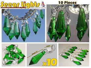 10 TORPEDO CRYSTALS GREEN DROPS RETRO WEDDING PRISMS LIGHT PARTS GLASS DROPLETS