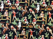 AH260 Sexy Pin Up Cowgirls From The Hip Rodeo Western Boots Cotton Quilt Fabric