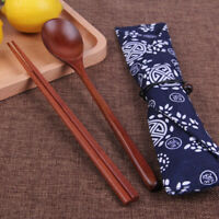 Vintage Chinese Korean Wooden Chopsticks Spoon Cutlery Tableware w/Storage Bag