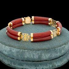 Antique Vintage Deco Style 14k Gold Chinese Carved Jadeite Jade Segment Bracelet