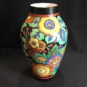 "Great Antique Pirkenhammer Art Deco Floral Pottery 10"" Vase Boch Freres Style"