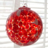 "1 HGB15 Hanging Glass Ball 4/"" Diameter Ruby Red Ridged Friendship Ball"