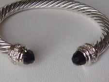 $3550 DAVID YURMAN 18K WHITE GOLD ,SS DIAMOND BLACK ONYX BRACELET SMALL