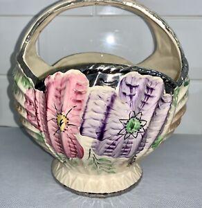 Arthur Woods No3028 Floral Hand Painted Silvered Large Fruit Bowl Basket