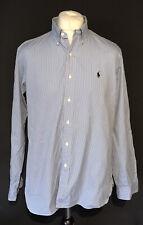 "Ralph Lauren Men's Casual Shirt Blue Striped 16.5"" 42 Custom Fit 100% Cotton"