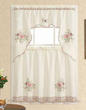 STAY WITH ME. 3pcs Kitchen curtain set, applique embroidery. Rose Pink