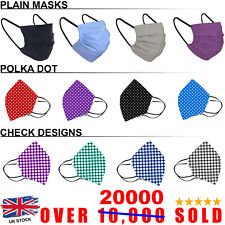 Face Mask Cover Washable Reusable Breathable Nose UK Virus Protect Print Layer