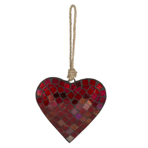 """Large GLASS MOSAIC HEART Christmas Ornament, 5"""" Long, by Midwest CBK"""