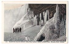 BELOW FROZEN in Winter NIAGARA FALLS Table Rock Tunnel Victoria Canada Postcard