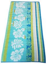 BEACH TOWEL FLOWER STRIPE LEAF BLUE GREEN LIME TEAL JUMBO BATH SHEET 100% COTTON