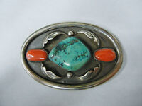 Vintage Sterling Silver with Turquoise & Coral Belt Buckle