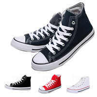Fashion Classic Men Women Unisex High Top Canvas Shoes Boots Plimsoll Trainers