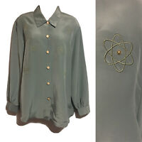 ANDREW GEE Vtg 80s Silky Blouse Button-Up Shirt Atom Age Geeky Top Kitsch 12/14