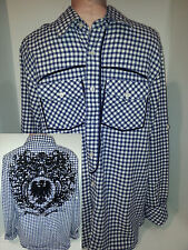 Attitude Victory Western Plaid Flannel Design Shirt Mens SIZE Large Blue White