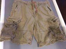 AMERICAN EAGLE Mens Cargo Shorts, 32, Khaki Tan, Drawstring Distressed, 6 Pocket