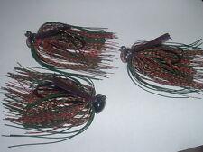 Custom Weedless Football Jig Lot Of 3 Blk/Org Mottled Craw 1/2 oz Living Rubber