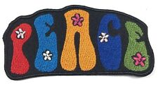 PEACE COLORFUL FLOWERS LOGO IRON ON EMBROIDERED PATCH