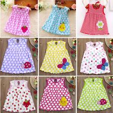 Toddler Baby Girl Sleeveless Tees Dress Cotton Cartoon Summer Print T-Shirt Vest