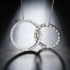Interlocking Circles Necklace Love Double Circle Pendant Anniversity Women Gift