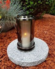 Grablaterne Grablampe Massiv Granit Grableuchte Grablicht Grabschmuck Edelstahl