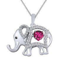 "New 14CT White Gold Over Heart Ruby & Diamond Elephant Pendant 18"" Chain Hallows"