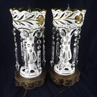 PAIR OF BOHEMIAN CUT TO EMERALD GREEN GLASS MANTLE LUSTERS CZECH LUSTRES