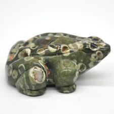 "2.6"" Stone Carving Frog Figurine Green Rainforest Jasper Lucky Healing Decor"